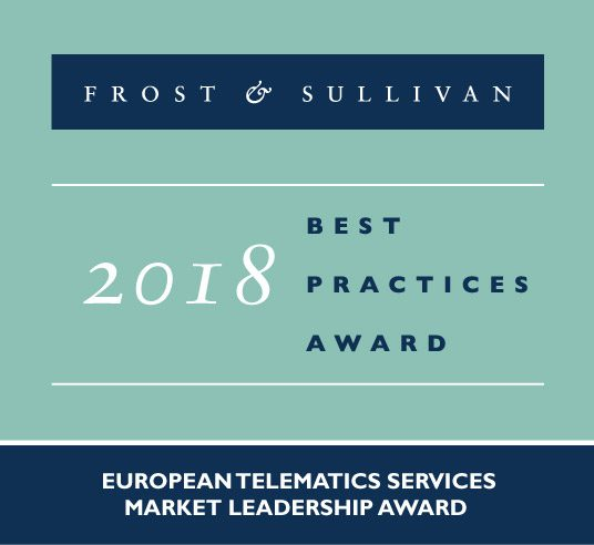 WirelessCar Award logo for Frost & Sullivan European Telematics Services Market Leadership